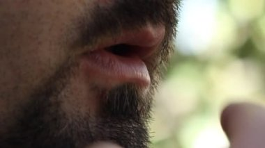 Bearded Man Smokes — Stock Video