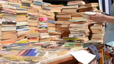 Book Stacks for Sale — Stock Video