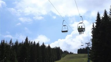 Chairlift over Fir Forest — Stock video