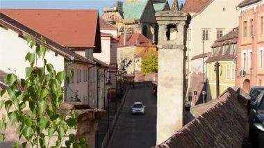 Chimney and Medieval Paved Street — Stock Video