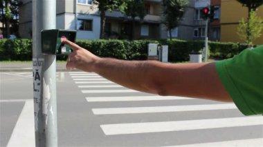 Crossing Street Semaphore Button — Stock Video