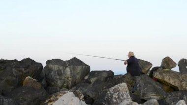 Fisherman Throws Bait — Stock Video