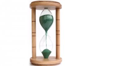 Green Sand Hourglass Time Lapse — Stock Video
