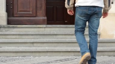 Man Enters Old Edifice — Stock Video