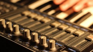 MIDI Music Keyboard Set Up — Stock Video