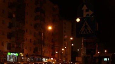 Night Blinking Crosswalk Sign — Stock Video
