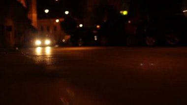 Nighttime Low Angle Cars — Stock Video