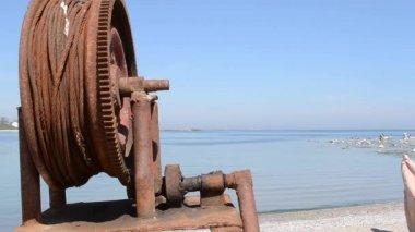Rusted Fishing Boat Windlass — Stock Video
