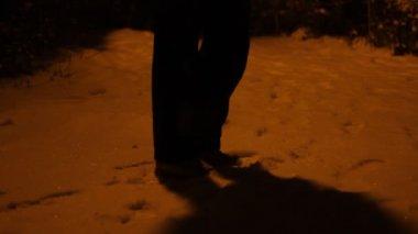 Snowy Night Meeting Point — Video Stock