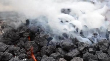 Thick White Smoke from Burning Coal — Stock Video