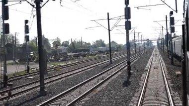 Train Passes Slowly Railroad Yard — Stock Video
