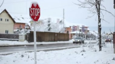 Winter Traffic Sign — Stock Video