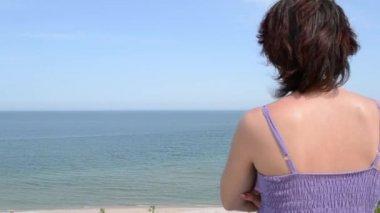 Woman Is Looking Towards Sea Horizon — Stock Video