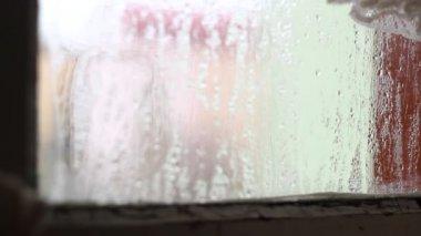 Focus Change on Sweaty Window — Stock Video