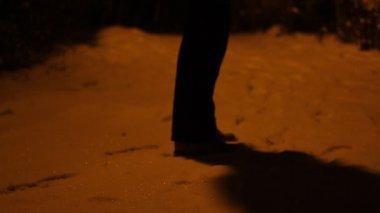 Man Waiting In Snowy Night — Stock Video