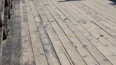 Shaddow Walking on Wooden Bridge — Stock Video