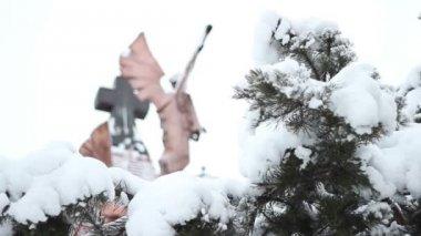 Snowy Church Cross — Stock Video