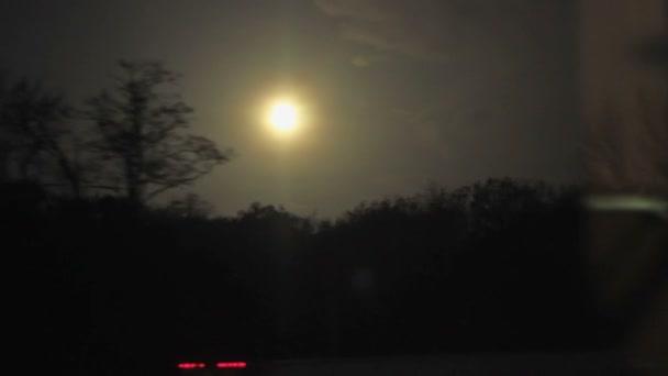 Paisaje nocturno del tren — Vídeo de stock
