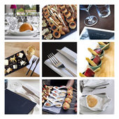 Caterers and gastronomy collage — Stock Photo