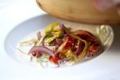 Peperoni, pomodori e scalogni — Foto Stock