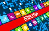 Regulation concept image with business icons and copyspace. — Stock Photo