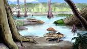 Origin of the amphibians, devonian — Stock Photo