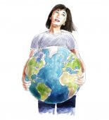 Woman carrying the world sketch — Stock Photo