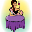 Pretty girl at the table in restaurant with glass of wine — Stock Vector #60664803