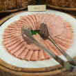 Delicious ham arranged on white plate (be partly consumed) — Stock Photo #66035119