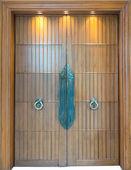 Wood door and three down lights — Stock Photo