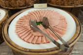 Delicious ham arranged on white plate (be partly consumed) — Stock Photo