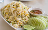 Khao phat pu, Fried rice with crabmeat — Stok fotoğraf