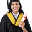 Happy young female student holding diploma — Stock Photo #79853800