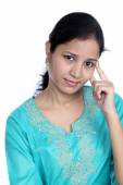 Young woman having migraine — Stock Photo