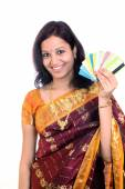 Traditional woman hand with credit & debit cards — Stock Photo