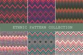 Set of ethnic seamless patterns. Aztec geometric background. Hand drawn navajo fabric. Modern abstract wallpaper. Vector illustration. — Stock Vector