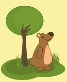 Smiling bear and tree — Stock Vector