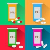 Set of pill bottle — Stock Vector