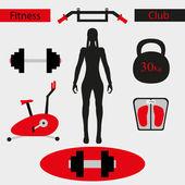 Kvinnan tränare i gymmet — Stockvektor