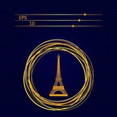 Eiffel tower sign on a dark blue background — Stock Vector