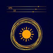 Sun sign on a dark blue background — Stock Vector