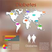 Statistics of diabetes on the map — Vetor de Stock