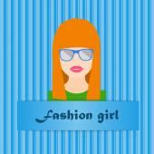 Fashion girl avatar — Stockvector