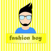 Hipster fashion boy — Stock Vector