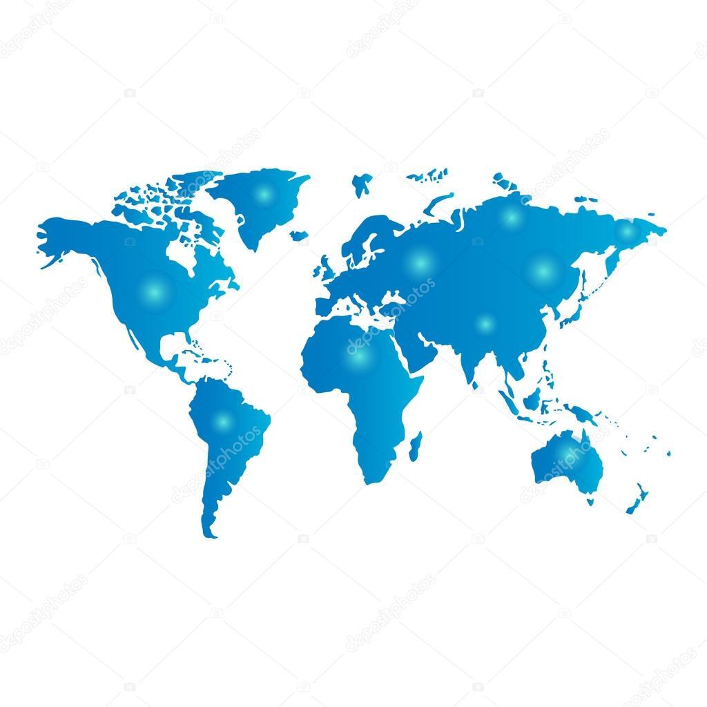 世界地图与发光点 — 图库矢量图像08