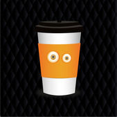 Takeaway coffee cup with eyes — Stock Vector