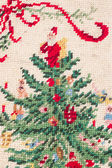 Christmas cross stitch — Stock Photo