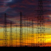 Power lines in the dusk — Foto Stock