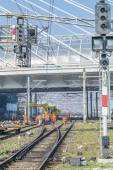Workers doing maintenance services at railways — Stock Photo
