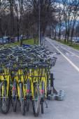 Group of yellow bikes — Stock Photo